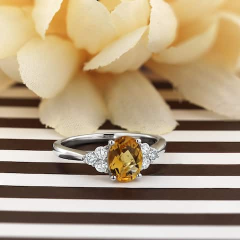 Auriya 1 1/10ct Oval-Cut Citrine and 1/4ctw Diamond Engagement Ring 14kt Gold