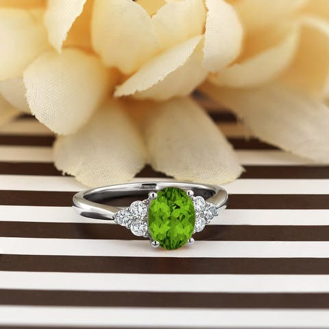 Auriya 1 1/10ct Fancy Oval Cut Peridot and 1/4ctw Diamond Engagement Ring 14kt Gold
