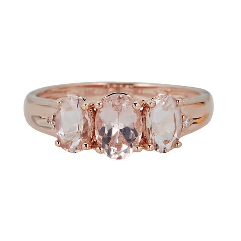 10K RG Morganite & Diamond Ring by Anika and August - White