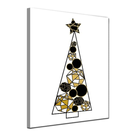Ready2HangArt 'Glam Tree' Wrapped Canvas Christmas Textual Wall Art