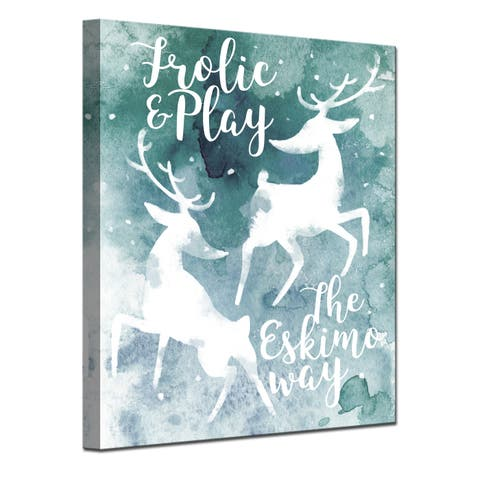 Ready2HangArt 'Frolic' Wrapped Canvas Christmas Wall Art