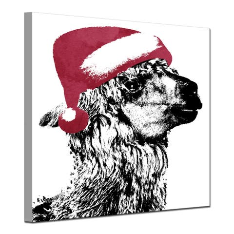 Ready2HangArt 'Alpaca Santa' Wrapped Canvas Christmas Wall Art