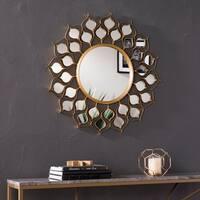 Silver Orchid Bech Round Gold Sunburst Wall Mirror