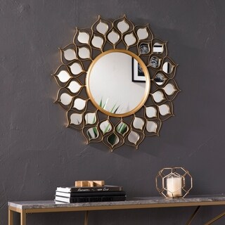 Harper Blvd Akers Round Sunburst Wall Mirror - Gold