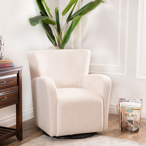 Abbyson Mona Ivory Swivel Chair