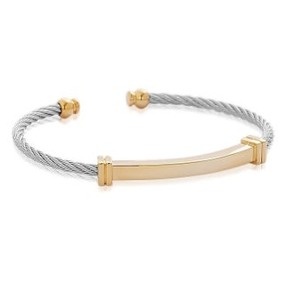 """18k Gold-Plated Stainless Steel Metal Accent Twisted Wire Cable Open Cuff Bangle Bracelet, 8"""""""