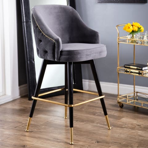 Abbyson Eva Tufted Back Bar Stool