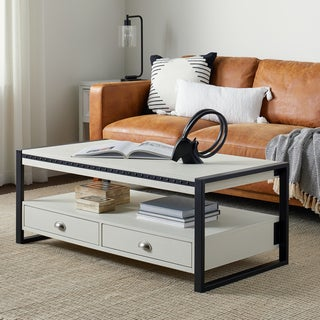 Abbyson Carolina White Rectangle Coffee Table