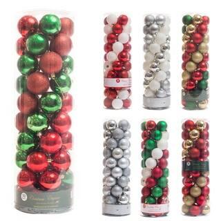 "50ct Shatterproof Matte Shiny Clear Glitter Christmas Ball Ornaments 60mm 2"""