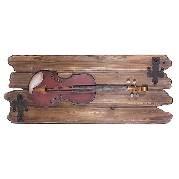 Essential Decor & Beyond Violin on Wood Wall Decor EN50137 - Brown