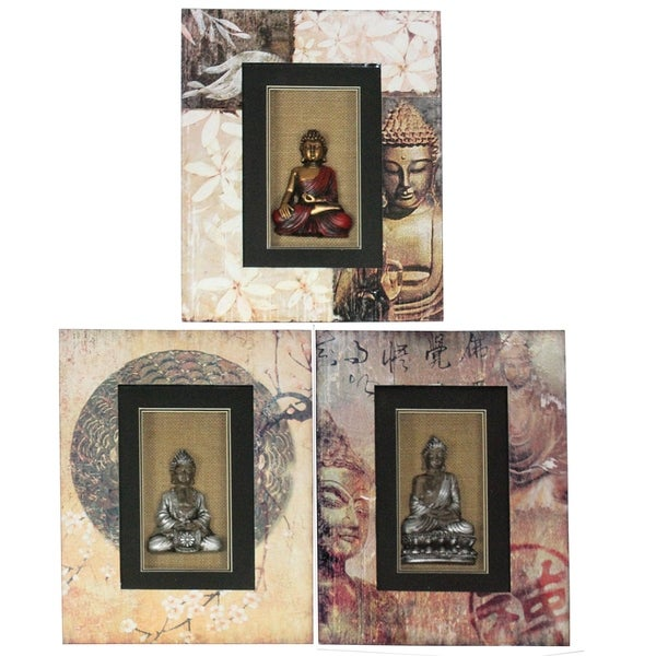 Essential Decor & Beyond 3pc. Buddha Wood Wall Decor EN40142 - Multi-color