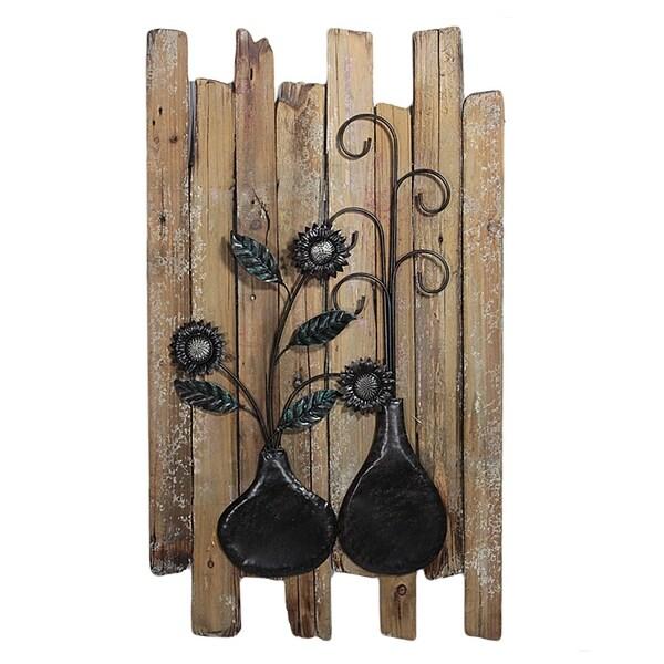 Essential Decor & Beyond Flowers in a Vase Wooden Wall Decor EN2854 - Multi-color