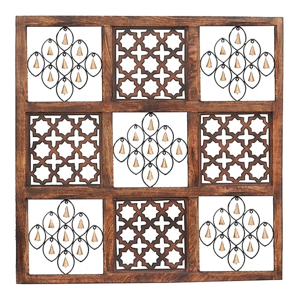 Essential Decor & Beyond Square Wood and Iron Wall Decor EN18365 - Brown