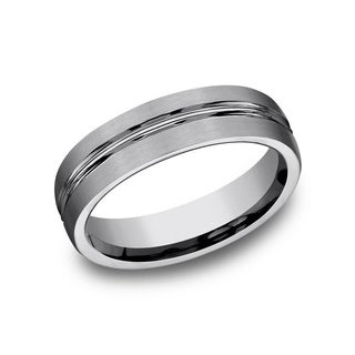 Men's 6mm Tungsten Satin Finished Grooved Band