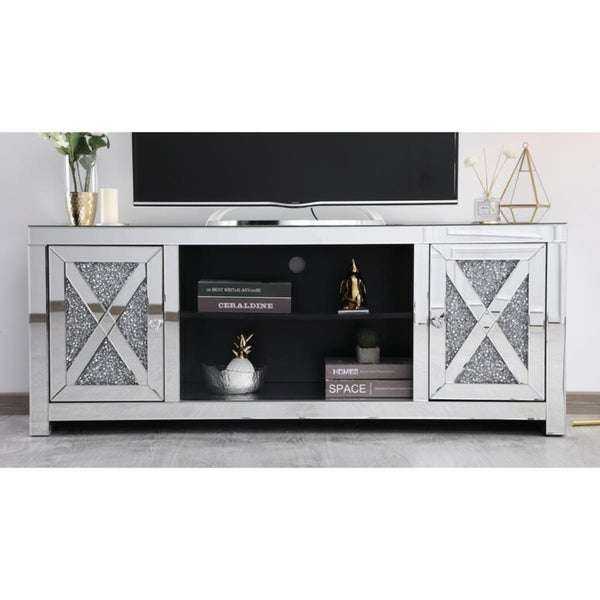 Shop Indigo Home Silvertone Mirrored 59 Inch Tv Stand With Crystals