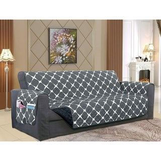 Elegant Comfort 2-Tone Bloomingdale Pattern Quilted Furniture Protector, Smart Pockets with Elastic Straps, Loveseat