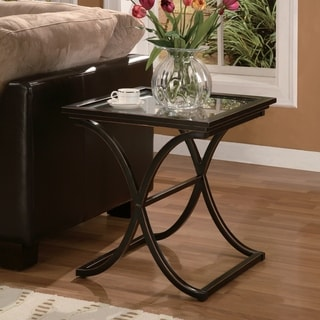 Copper Grove Bugleweed Black Metal and Glass End Table