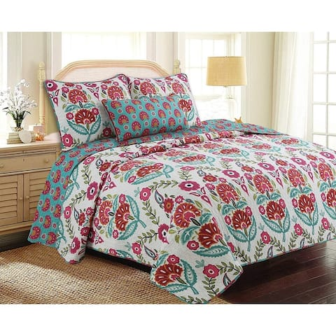 Cozy Line Santa Barbara Floral Print Reversible Cotton Quilt Set