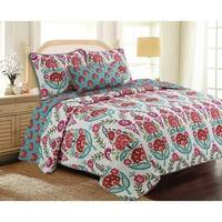 Cozy Line Happy Garden Floral Reversible Cotton Quilt Set - Green/Off White/Red