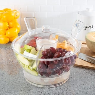 Ice Bowl-Large Cold Server with Lid, Dip Bowl, Serving Utensils, Dividers, and Ice Compartment by Classic Cuisine