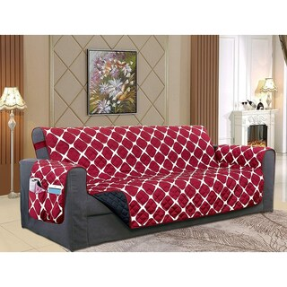 Elegant Comfort 2-Tone Bloomingdale Pattern Quilted Furniture Protector, Smart Pockets with Elastic Straps, Oversized Sofa