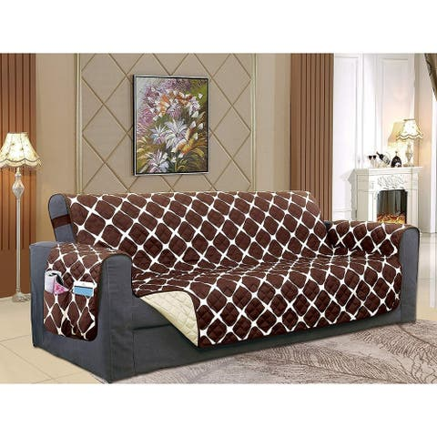 Elegant Comfort Reversible Bloomingdale Pattern Quilted Oversized Sofa Furniture Protector