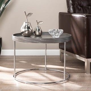 Silver Orchid Hinding Grey End Table