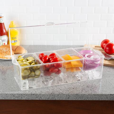 Cold Condiment Tray-Serving Container with Ice Chamber, 4 Compartments, Lid-For Fruit, Veggies, and More by Classic Cuisine