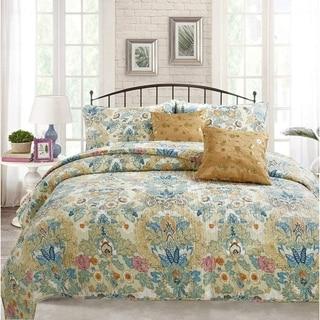 Cozy Line Florabella Floral 3 Piece Reversible Cotton Quilt Set - Tan/Blue/Beige