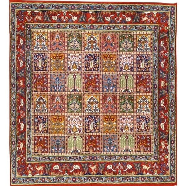 """Pasargad DC Persian Qum Hand-Knotted Wool Rug - 4'7"""" X 5' - 4'7"""" x 5'"""