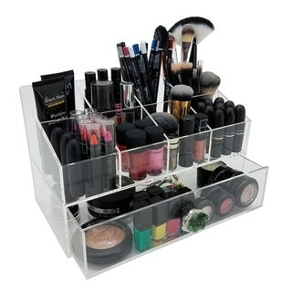 OnDisplay Gracie Deluxe Acrylic Cosmetic/Jewelry Organization Station with Geode Knobs