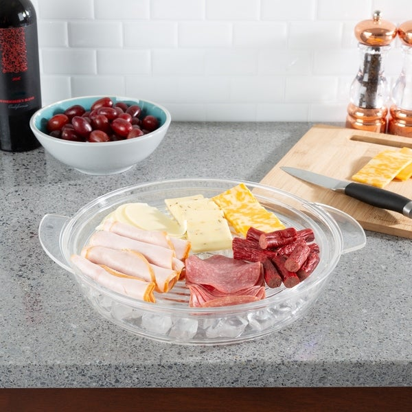 Cold Serving Tray-Platter with Ice Chamber, Lid and 3 Compartments for Fruit, Veggies, Cheese, and More by Classic Cuisine