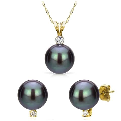 """DaVonna 14k Gold Black Freshwater Pearl and .09 CTTW Diamond Stud Earrings Pendant Necklace Jewelry Set 18"""""""