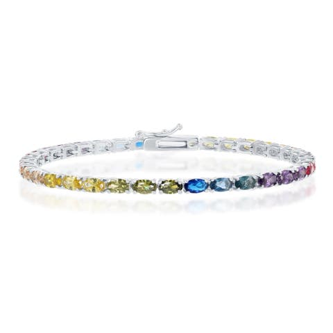 La Preciosa Sterling Silver or 14K over Silver Oval Rainbow CZ Tennis 7.5'' Bracelet