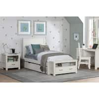 Hillsdale Kids and Teen Highlands Alex White Pinewood Twin Flat Panel Bed with Trundle