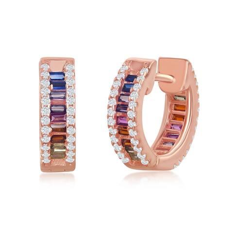 Sterling Silver Rose Gold Plated Rainbow CZ Small Huggie Hoop Earrings
