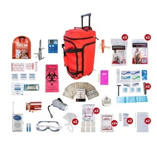 2 Person Deluxe Survival Kit (72 Hours) Red Wheel Bag