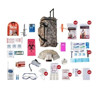 2 Person Deluxe Survival Kit (72 Hours) Camo Wheel Bag