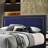 Best Quality Furniture Full/Queen Velvet Upholstered Nailhead Trim Headboard