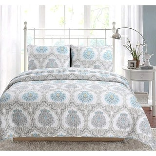 Link to Cozy Line Kamala Damask 3 Piece Reversible Cotton Quilt Set Similar Items in Quilts & Coverlets