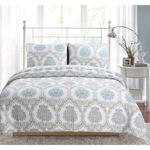 Cozy Line Kamala Damask 3 Piece Reversible Cotton Quilt Set