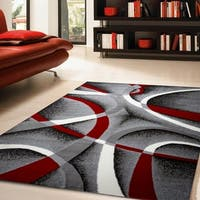 Katelynn Gray/White/Wine Red/Black Area Rug - 8' x 10'