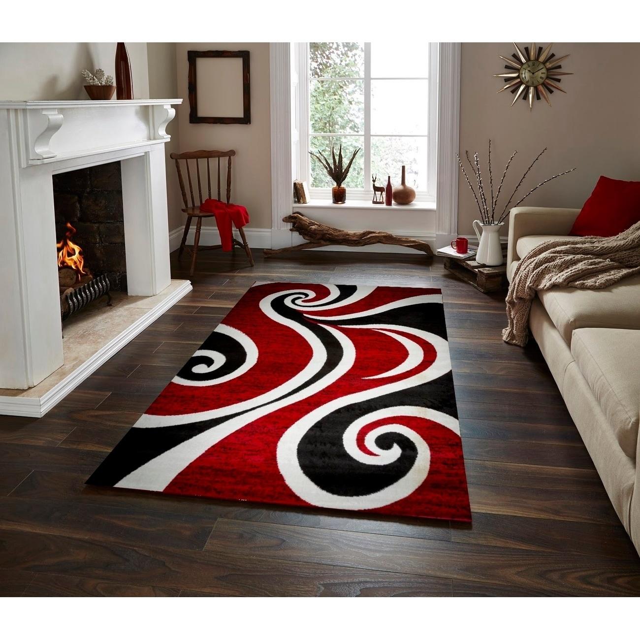 Mckenzie Red Black White Area Rug
