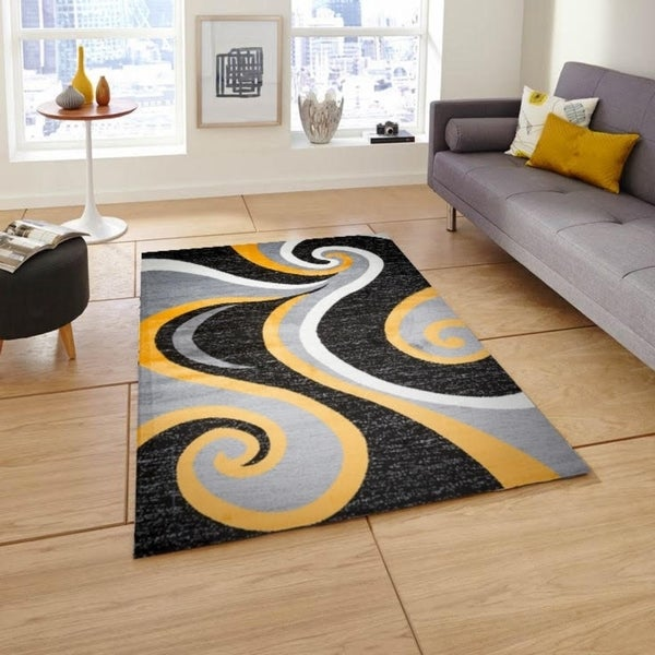 Shop Mckenzie Black Gray Yellow Area Rug 8 X 10 Free Shipping