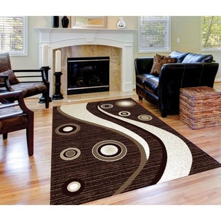 Spotted Brown Area Rug F 7508 Brown-White 4' x 5' - 4' x 5'