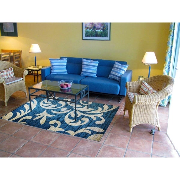Knoxville Area Rug F 7510 Blue-White 5' x 7' - 5' x 7'