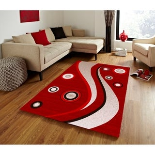 Spotted Brown Area Rug F 7508 Red-White 5' x 7' - 5' x 7'