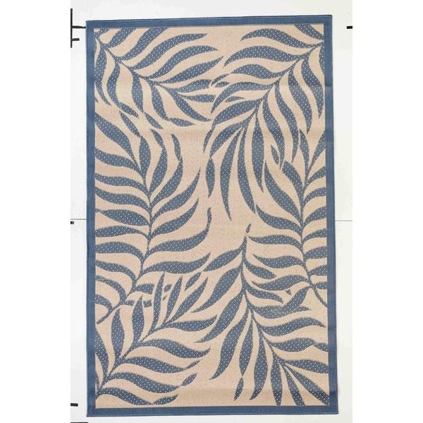 Tropical Beige/Blue Indoor/Outdoor Flatweave Contemporary Rug - 7'10 x 9'10
