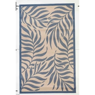Tropical Beige/Blue Indoor/Outdoor Flatweave Contemporary Area Rug - 8'10 x 11'9