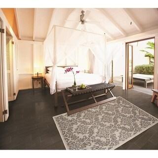 Grandeur Light Grey / Anthracite Indoor / Outdoor Flatweave Contemporary Rug - 7'10 x 9'10